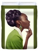 Dark Skinned Woman In Updo With Big Curls Duvet Cover