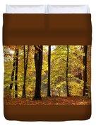Dark Trunks Bright Leaves Duvet Cover
