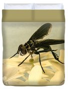 Dark Winged Comb Footed Fly Duvet Cover