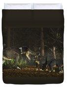 Daspletosaurus Confronts A Family Duvet Cover
