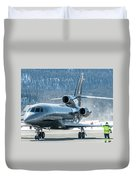 Dassault Falcon 900 Parking With Marshaller Duvet Cover