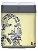 Dave Grohl Word Portrait With The Word Kurt Cobain Duvet Cover