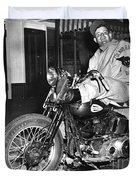 Dave On A Harley Tulare Raiders Mc Hollister Calif. July 4 1947 Duvet Cover