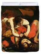 David With The Head Of Goliath Duvet Cover by Michelangelo Caravaggio