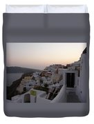 Dawn In Oia Santorini Greece Duvet Cover