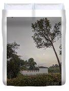 Dawn Moon Over Chinese Garden Singapore Duvet Cover
