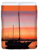 Dawn Of The Sailboat Duvet Cover