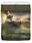 Dawn On Castle Geyser Duvet Cover