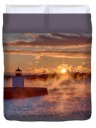 Dawn Peeking Over At Derby Lighthouse Duvet Cover