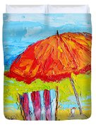 Day At The Beach - Modern Impressionist Knife Palette Oil Painting Duvet Cover