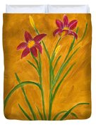 Day Lilies #3 Duvet Cover by Linda Feinberg