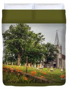 Day Lilies By A Church  Duvet Cover