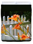 Daylilies On Picket Fence Duvet Cover