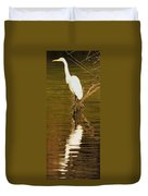 Days End With One Egret Duvet Cover