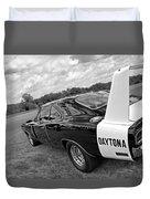 Daytona Charger In Black And White Duvet Cover