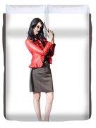 Dead Female Secret Agent Holding Hand Gun Duvet Cover