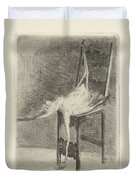 Dead Flamingo With The Legs Tied To The Handrail Of A Chair, Adriaan Pit, 1870 - 1896 Duvet Cover