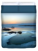 Dead Sea Shallow Waters At Dawn Duvet Cover
