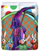 Death Takes His Bunny Friends To The Circus Duvet Cover