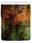 Decadent Urban Brick Green Orange Grunge Abstract Duvet Cover