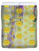 Decadent Urban Bright Yellow Patterned Purple Abstract Design Duvet Cover