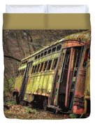 Decaying Trolley Cars Duvet Cover