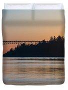 Deception Pass Bridge Sunset Sunstar Duvet Cover