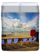 Deck Chairs At Southend On Sea Duvet Cover