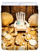 Deckchairs And Seashells Duvet Cover