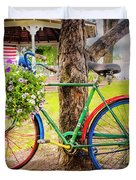 Decorated Bicycle In The Park Duvet Cover