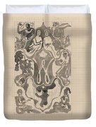 Decorative Design With Crowned W Surrounded By Persons, Carel Adolph Lion Cachet, 1874 - 1945 Duvet Cover