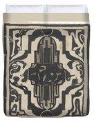 Decorative Design With Two Stylized Lions, Carel Adolph Lion Cachet, 1874 - 1945 Duvet Cover