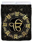 Decorative Gold Ek Onkar / Ik Onkar  Symbol Duvet Cover