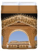 Decorative Moorish Architecture In The Nasrid Palaces At The Alhambra Granada Spain Duvet Cover