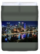 Deep Blue Night In Pittsburgh Duvet Cover