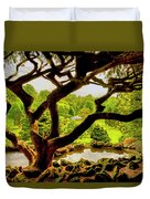Deep Cuts Gazebo Between The Tree Branches Duvet Cover