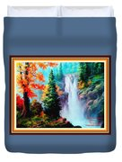 Deep Jungle Waterfall Scene L A With Alt. Decorative Ornate Printed Frame. Duvet Cover
