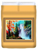 Deep Jungle Waterfall Scene L B With Alt. Decorative Ornate Printed Frame. Duvet Cover