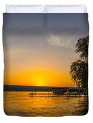 Deep Orange Sunset Over Keuka Lake Duvet Cover