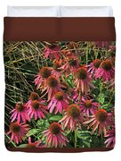 Deep Pink Echinacea Straw Flowers Green Leaf And Grass Background 2 9132017 Duvet Cover
