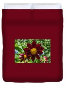 Deep Red And Yellow Flowers Duvet Cover