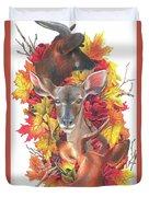 Deer And Fall Leaves Duvet Cover