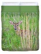 Deer Bedded Down In Grass Duvet Cover
