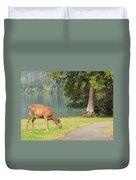 Deer By Crescent Lake Duvet Cover