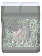 Deer By The Tree Line Duvet Cover