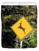 Deer Crossing Sign 2 Duvet Cover