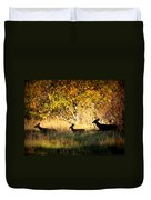 Deer Family In Sycamore Park Duvet Cover