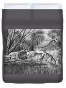 Deer Field  Duvet Cover