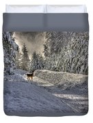 Deer In Snow Duvet Cover