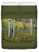Deer In Spring Duvet Cover